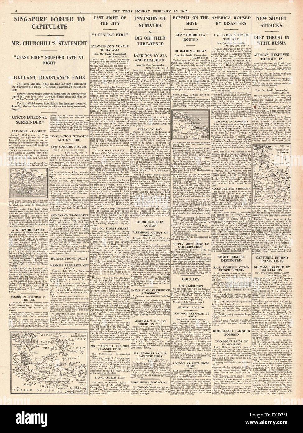 1942 page 4 The Times Winston Churchill announces the fall of Singapore and Japanese Forces Invade Sumatra Stock Photo