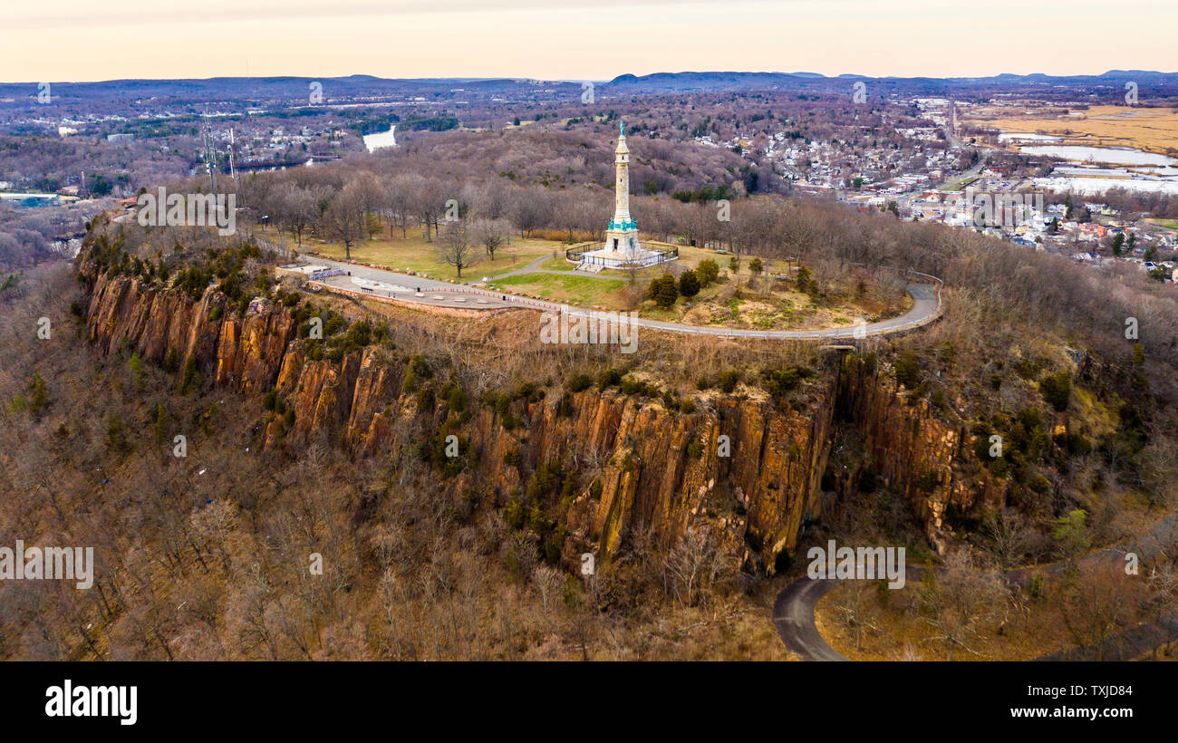Soldiers and Sailors Monument, East Rock Park, New Haven, CT, USA Stock Photo