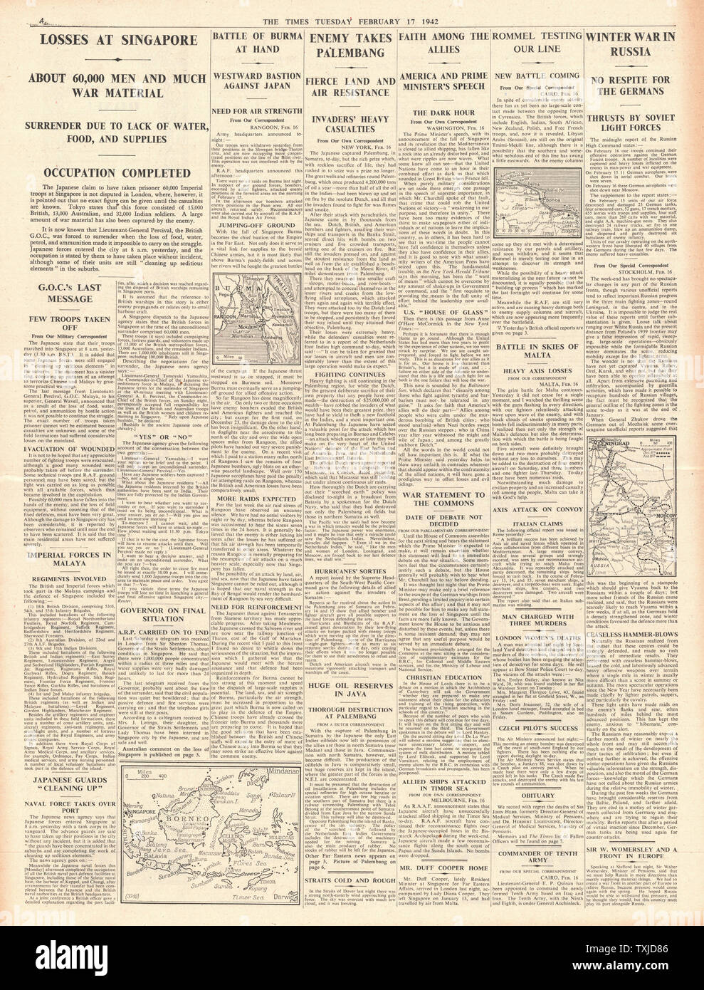 1942 page 4  The Times Fall of Singapore and Battle for Burma and Sumatra Stock Photo