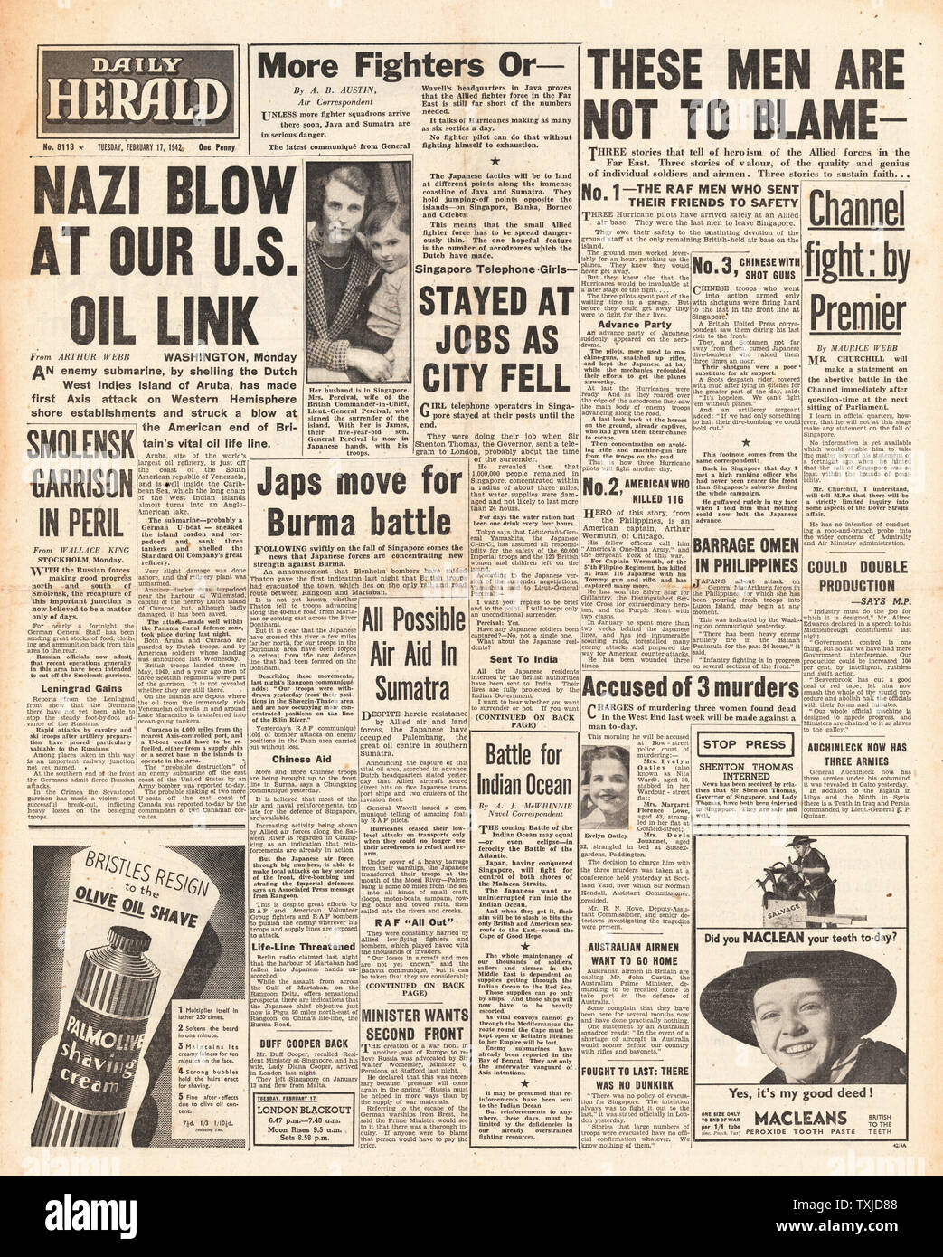 1942 front page  Daily Herald German U-Boat shells Island of Aruba and fighting across Far East Stock Photo