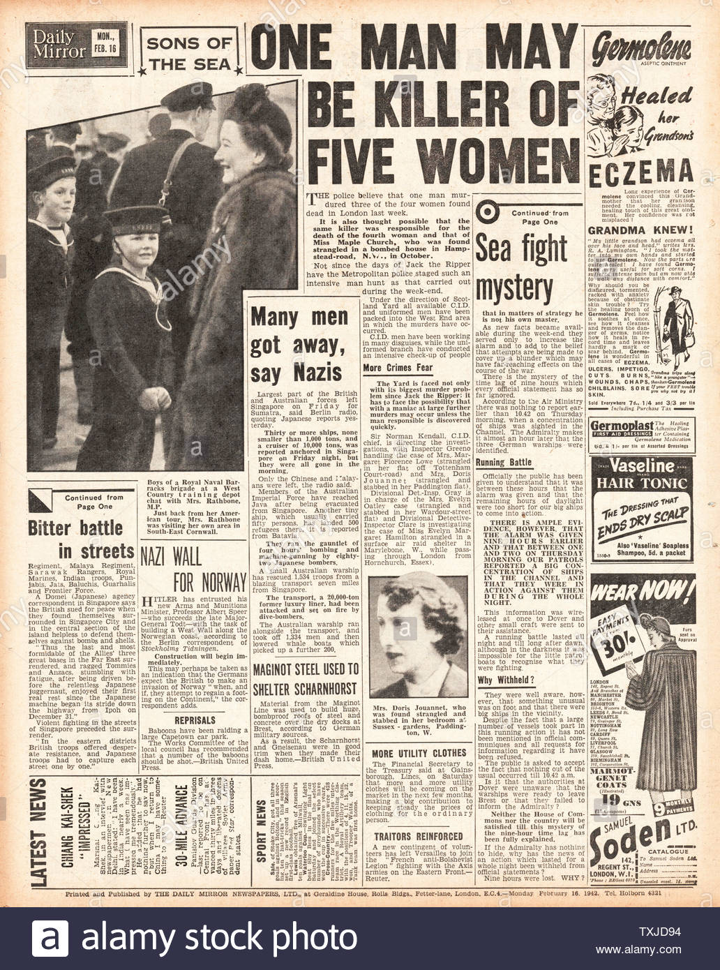1942 back page Daily Mirror Blackout Murders by Gordon Cummins Stock Photo