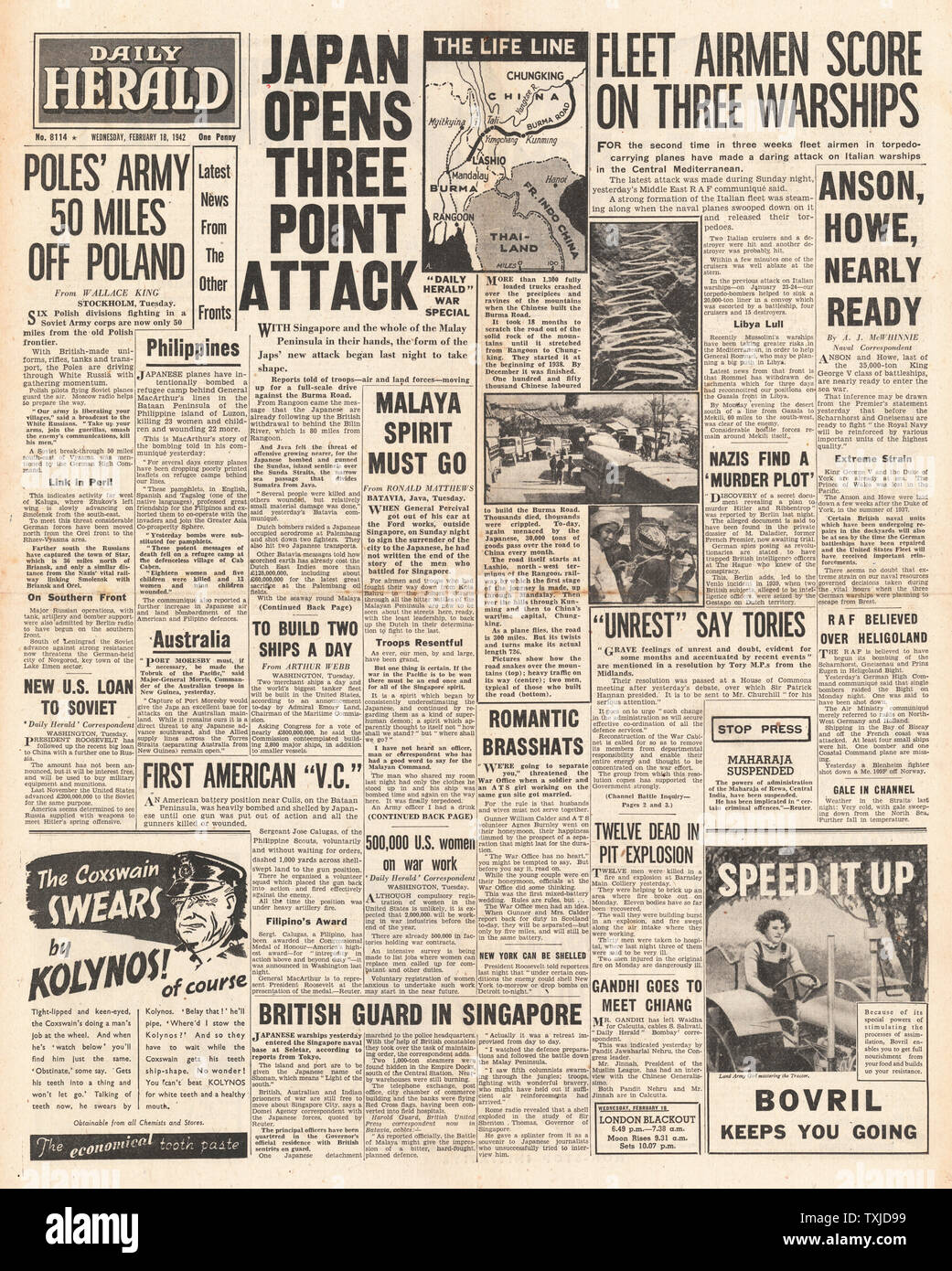 1942 front page  Daily Herald Battle for Burma and Italian Warships attacked in Mediterranean Stock Photo