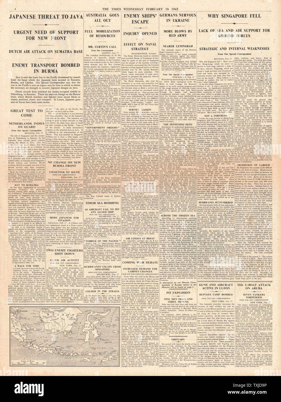 1942 page 4 The Times Battle for Java Stock Photo