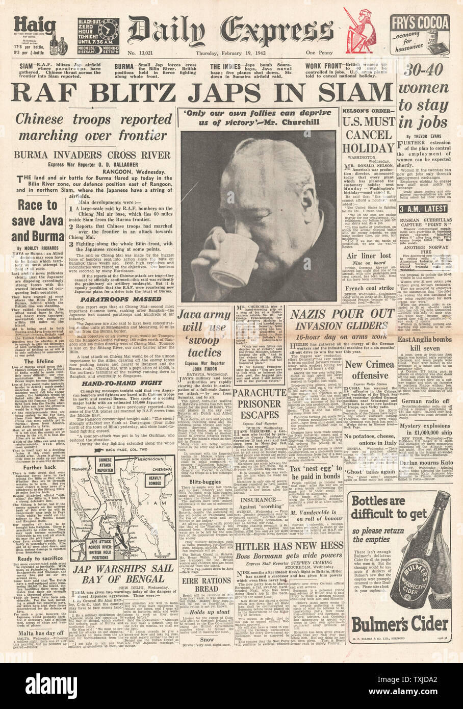 1942 front page Daily Express RAF Bombing raids in Thailand Stock Photo
