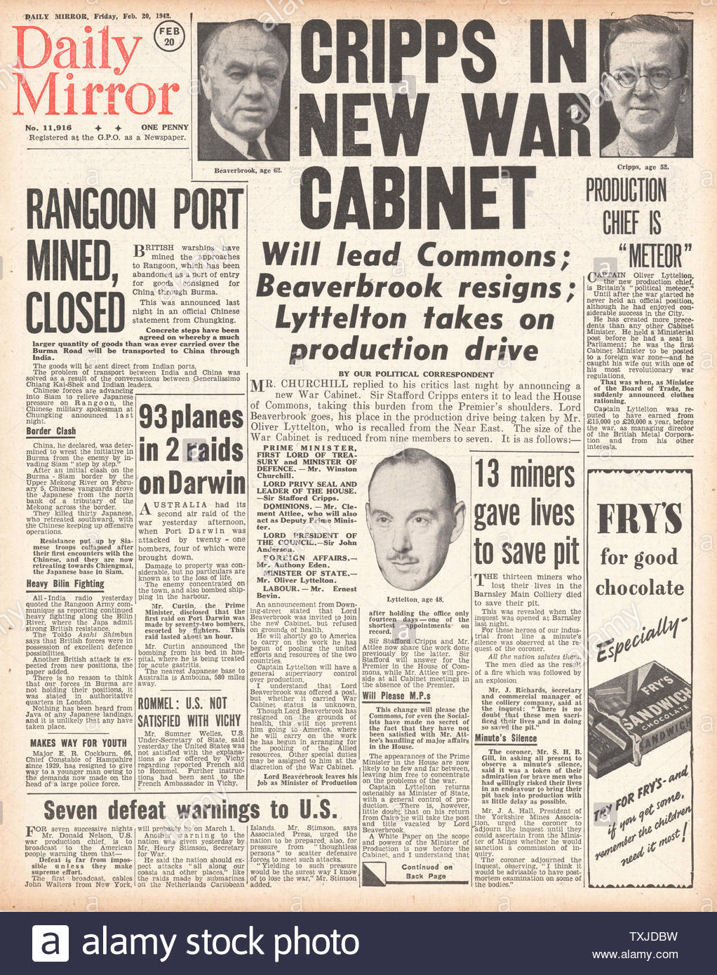 1942 front page  Daily Mirror British Government Cabinet re-shuffle and Battle for Burma Stock Photo