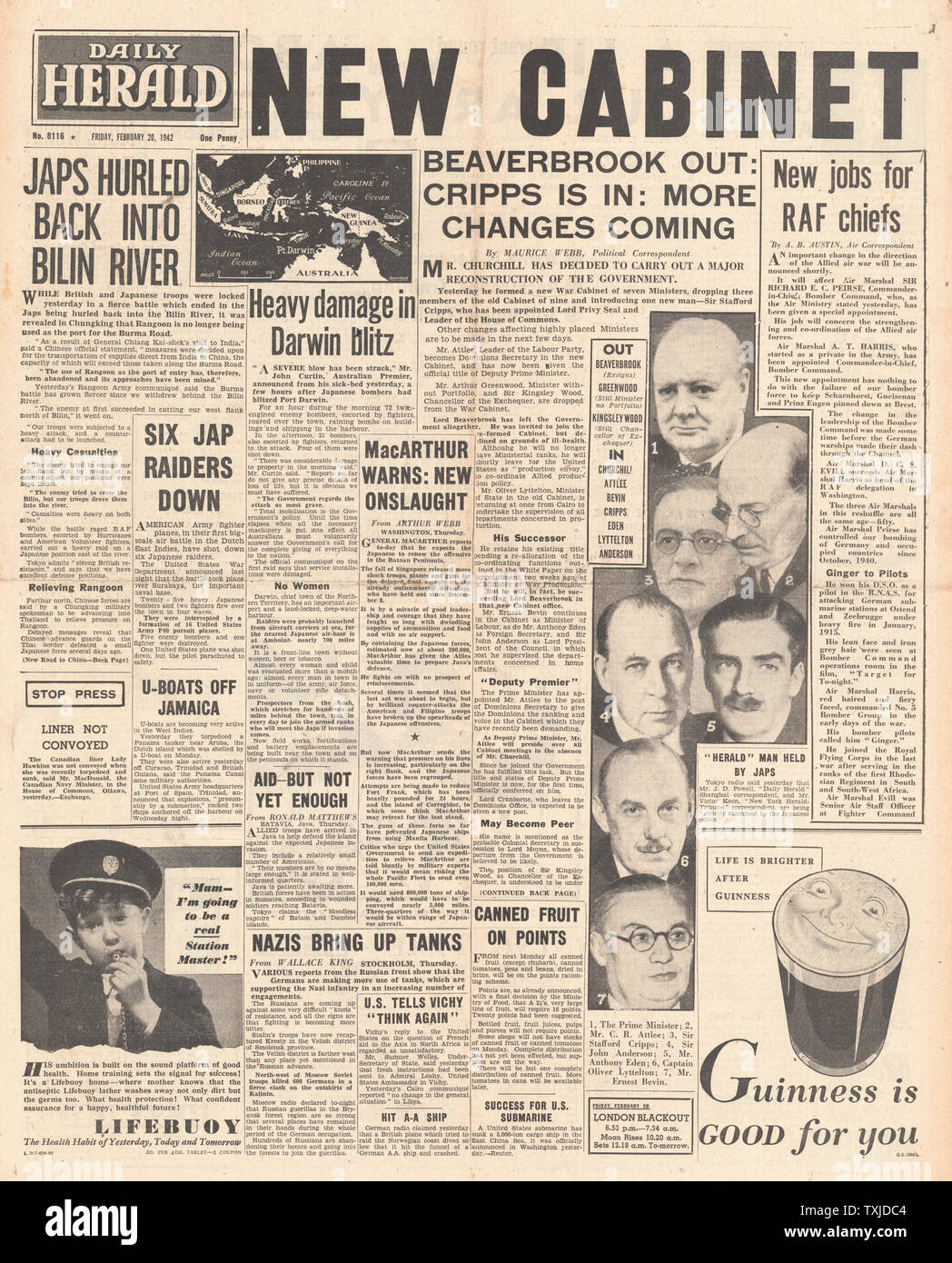 1942 front page  Daily Herald British Government Cabinet re-shuffle and Battle for Burma Stock Photo
