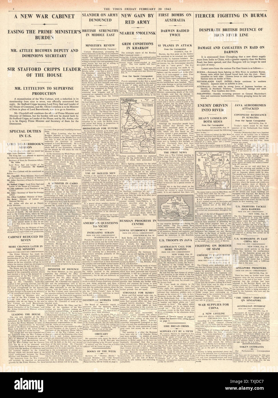 1942 page 4 The Times British Government Cabinet re-shuffle and Battle for Burma Stock Photo