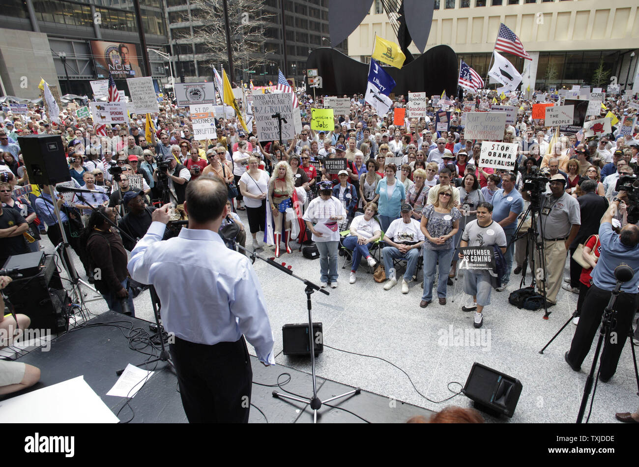 Tea party activists gather for a rally at Daley Plaza in Chicago on April 15, 2010. The rally was one of thousands held by tea party activists around the country on tax day.    UPI/Brian Kersey Stock Photo