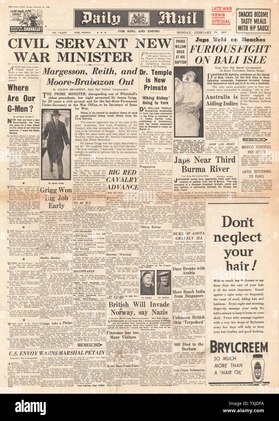 1942 front page  Daily Mail New Government Appointments and Battle for Burma Stock Photo
