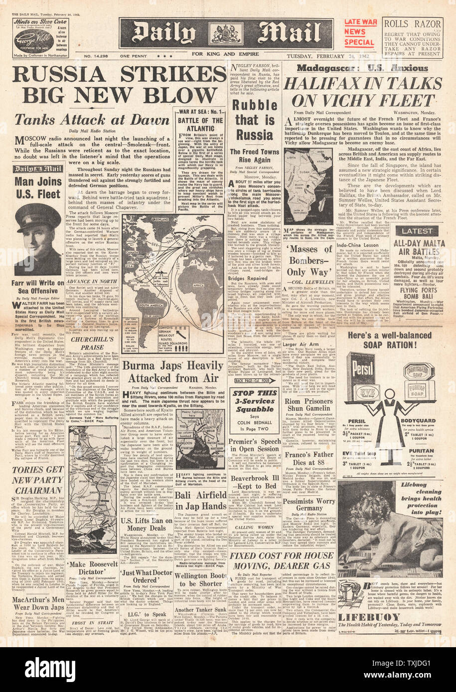 1942 front page  Daily Mail Russian Army launch drive on Smolensk Stock Photo