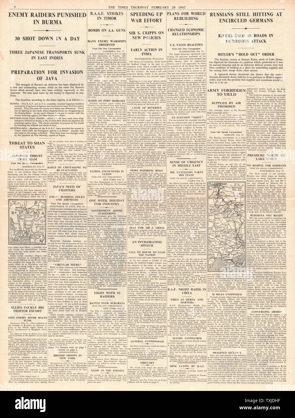 1942 page 4 The Times Battle for Burma, U.S. Navy attacks U-Boats and Russian Army Battle for Smolensk and Leningrad Stock Photo
