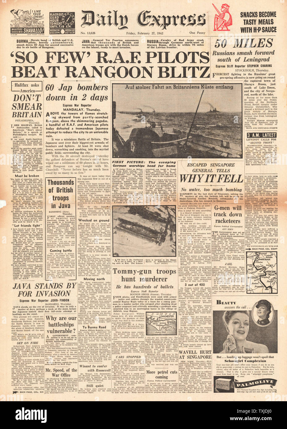 1942 front page  Daily Express Japanese Forces advance on Rangoon in Battle for Burma Stock Photo