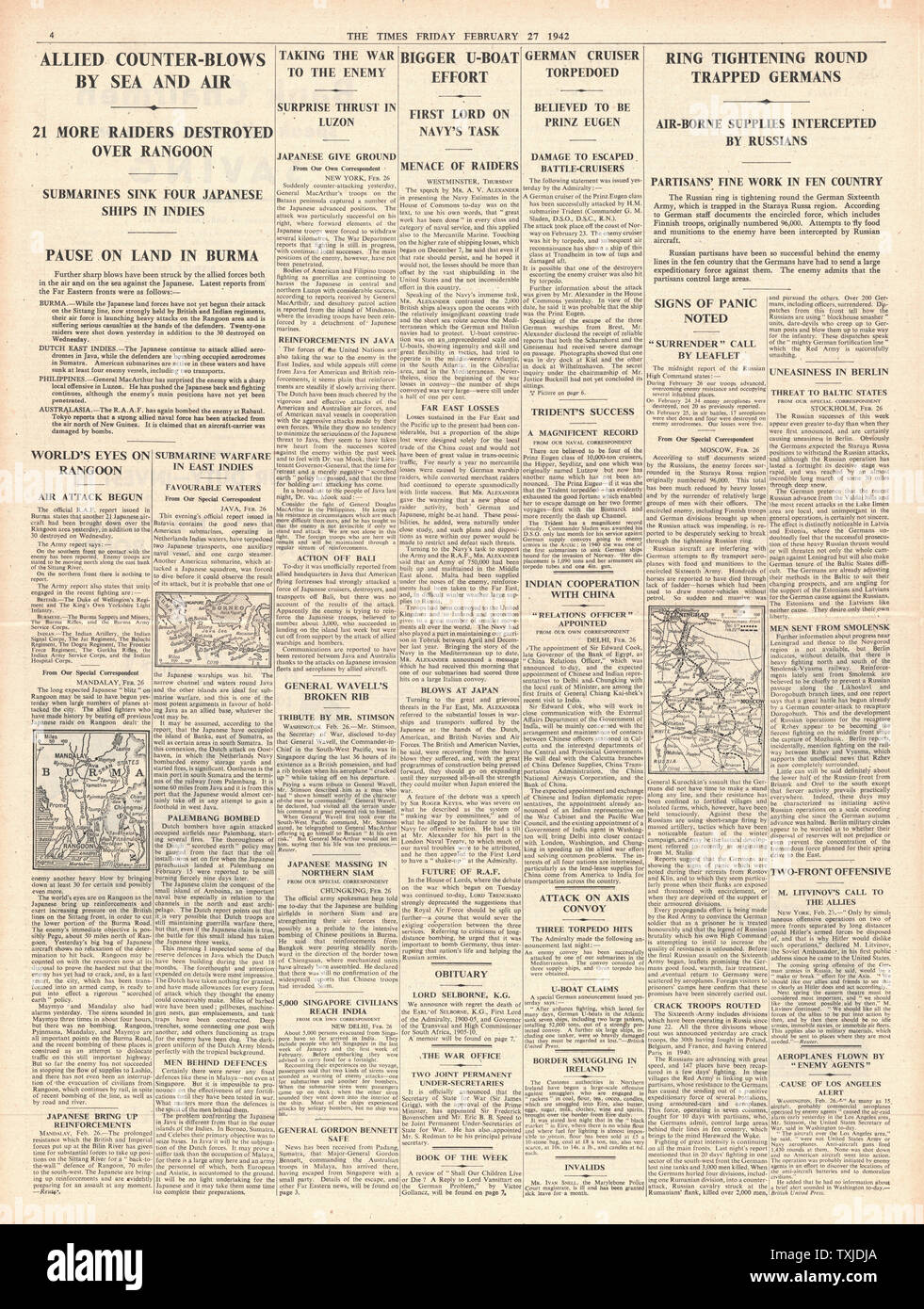 1942 page 4 The Times Battle for Burma Stock Photo