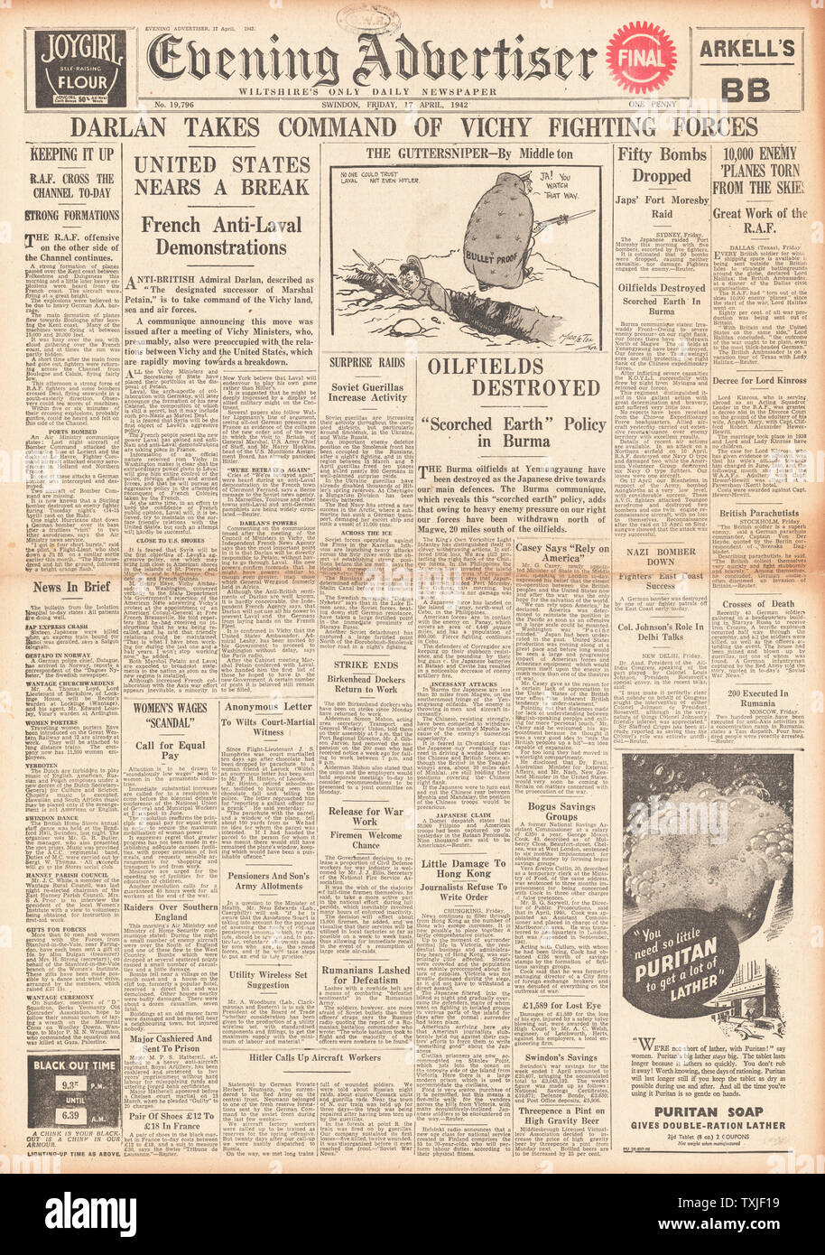 Admiral Breakdown Number >> 1942 Front Page Evening Advertiser Admiral Darlan Takes