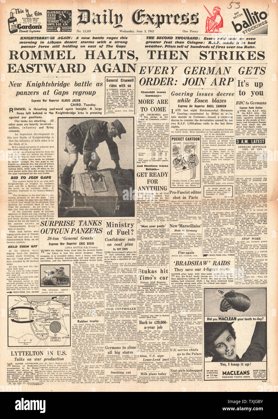 1942 front page Daily Express Battle for Libya and Bombing of Cologne Stock Photo
