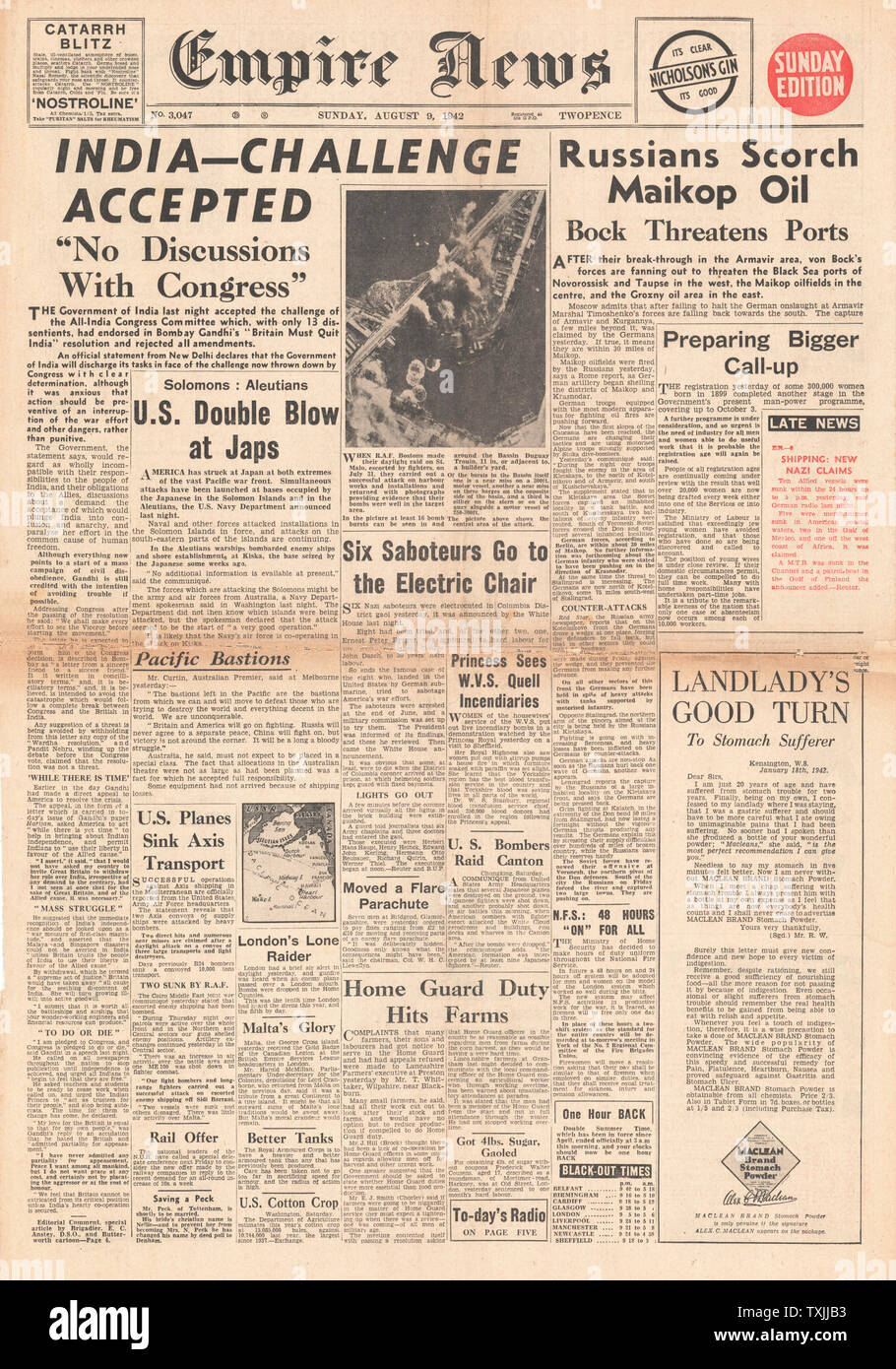 1942 front page Empire News Indian Congress endorse Gandhi's
