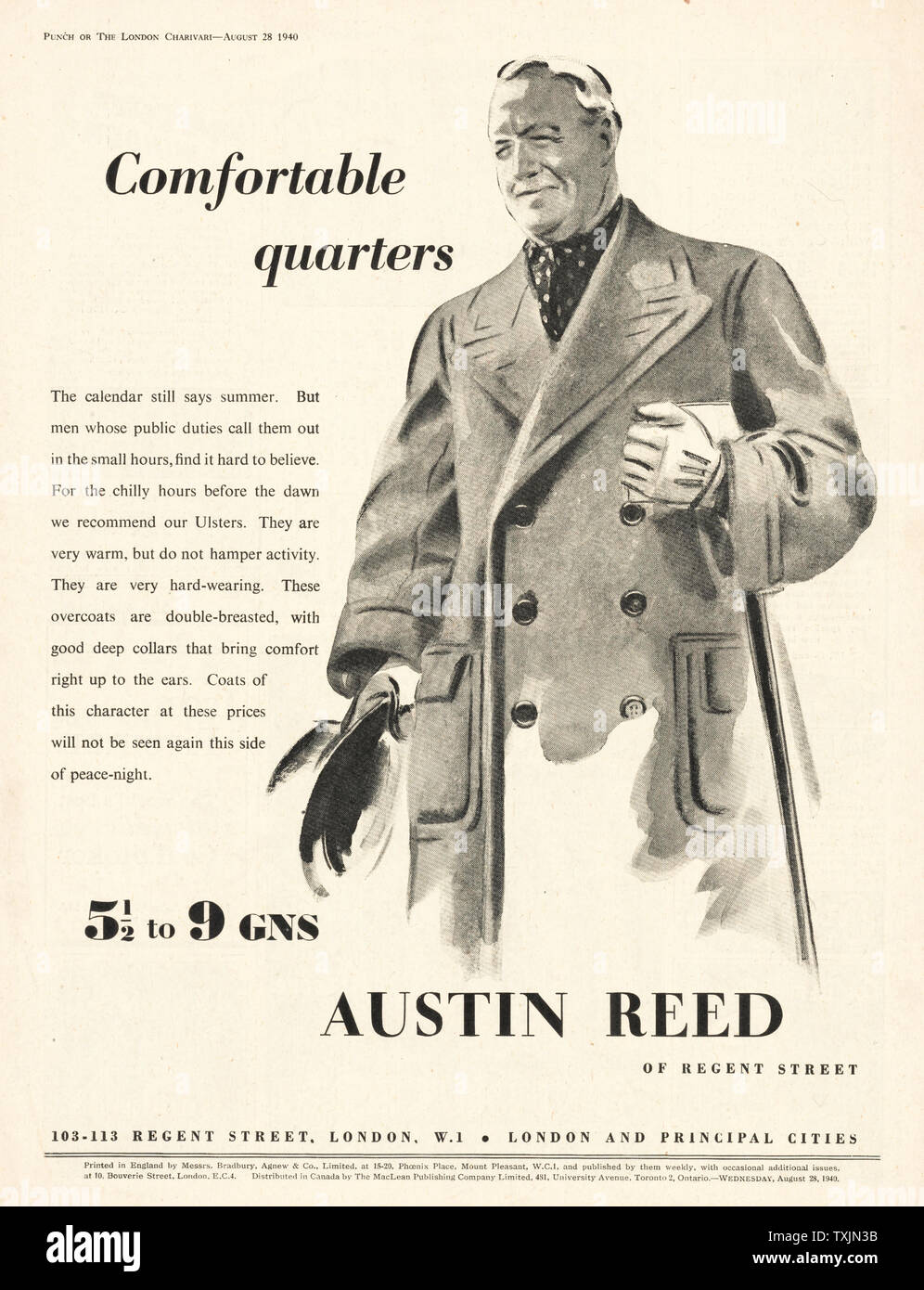 1940 Uk Magazine Austin Reed Advert Stock Photo Alamy