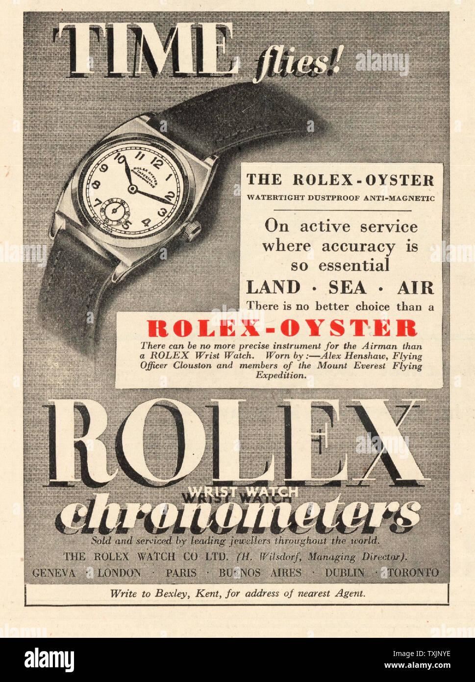1947 UK Magazine Rolex-Oyster Watches Advert Stock Photo