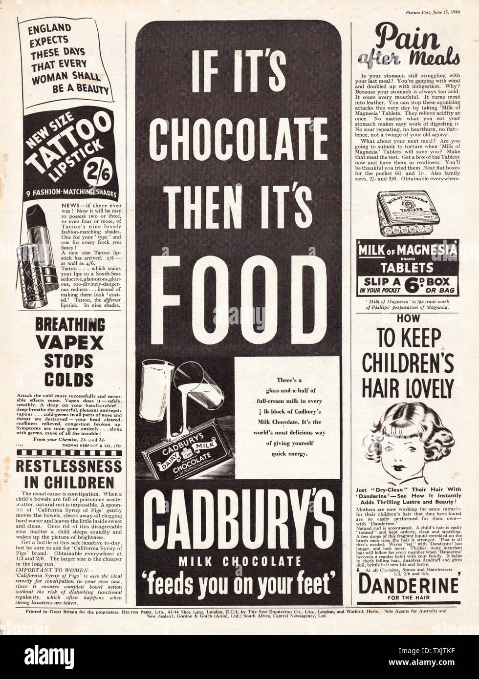1940 UK Magazine Cadburys Milk Chocolate Advert Stock Photo - Alamy