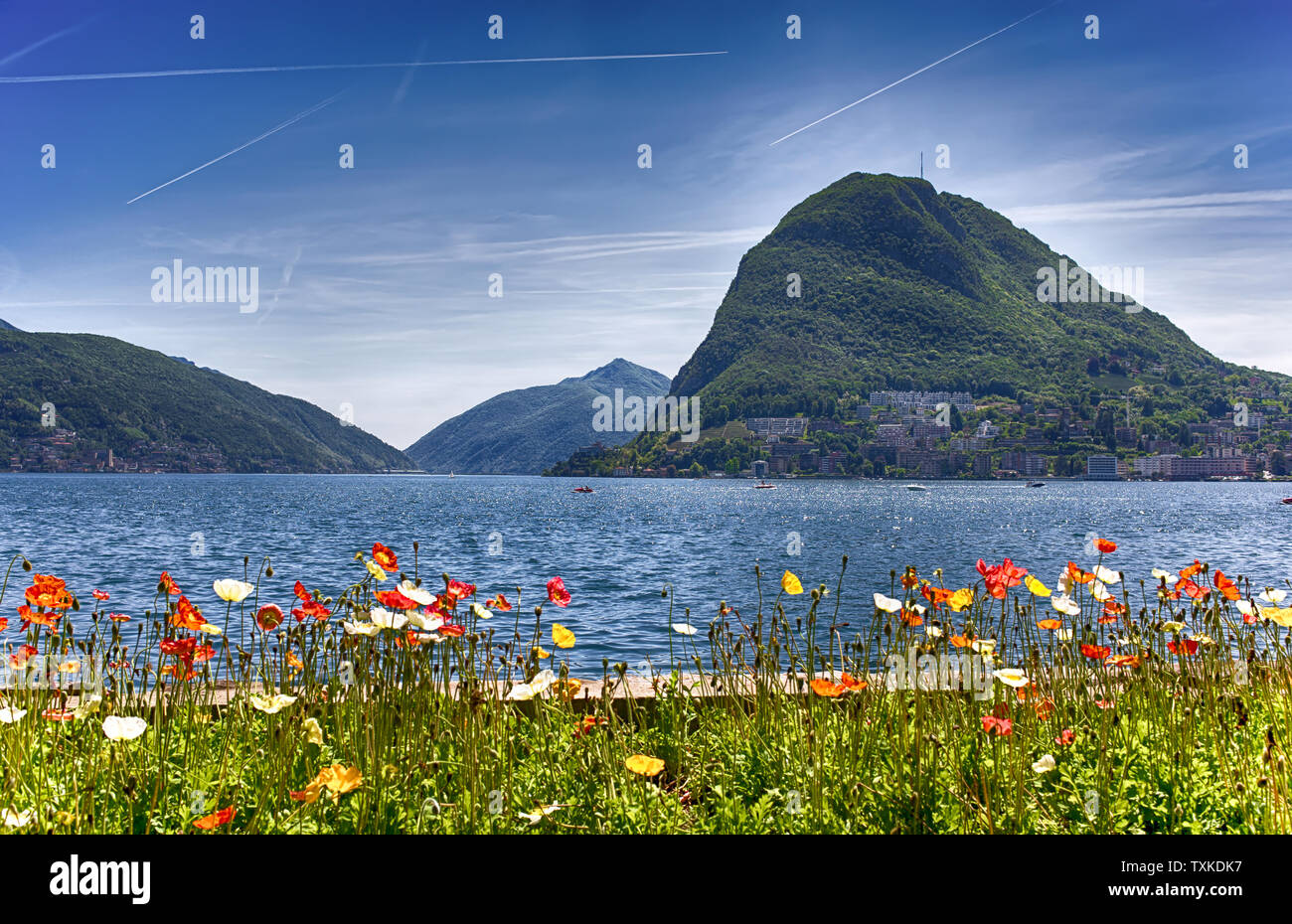 View of Lugano lake, Switzerland, Europe. Stock Photo