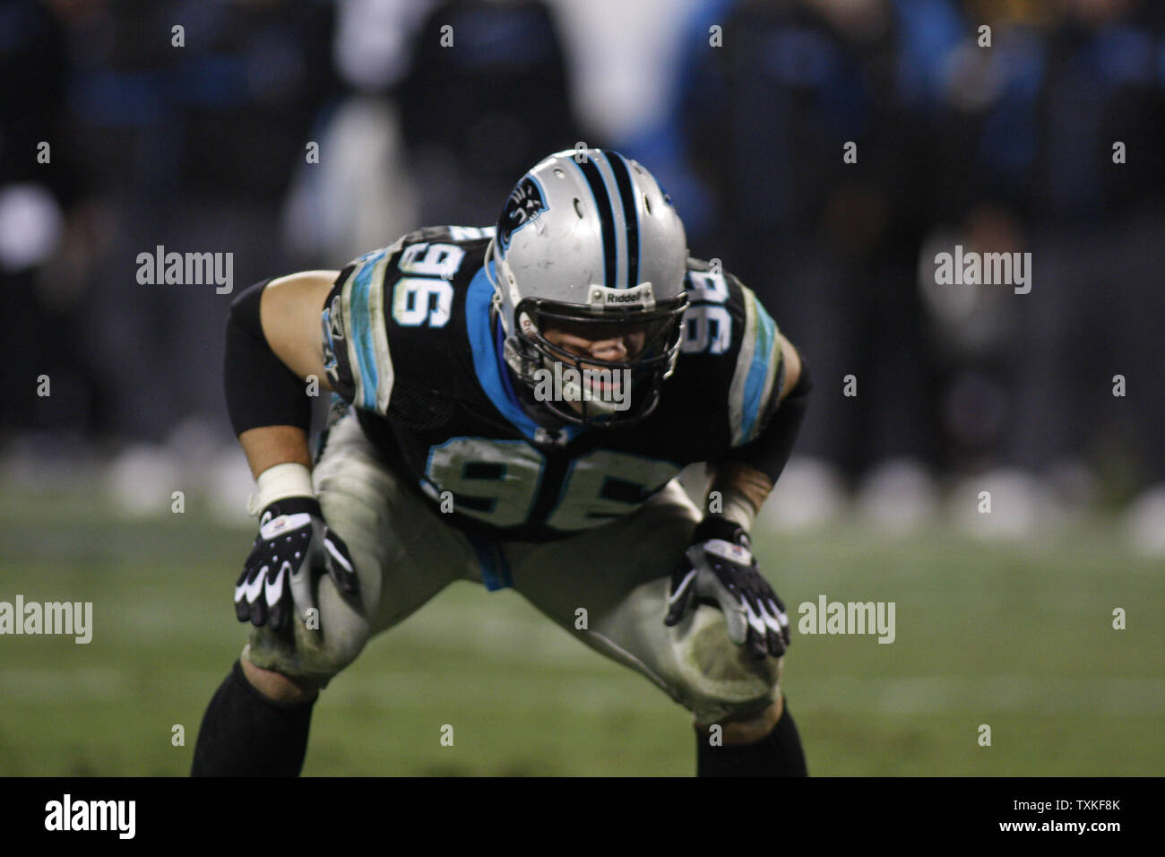 Carolina Panthers defensive end Tyler Brayton (96) blocks during a point after try against the Tampa Bay Buccaneers at Bank of America Stadium on December 8, 2008 in Charlotte, North Carolina.   (UPI Photo/Bob Carey) Stock Photo