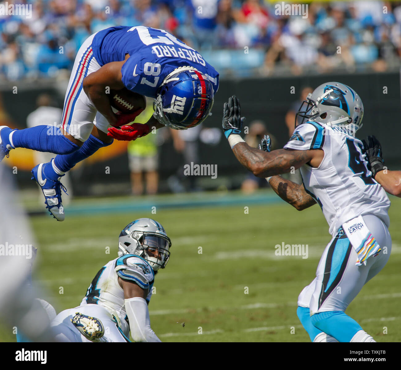 93eae376 New York Giants wide receiver Sterling Shepard leaps over Carolina ...