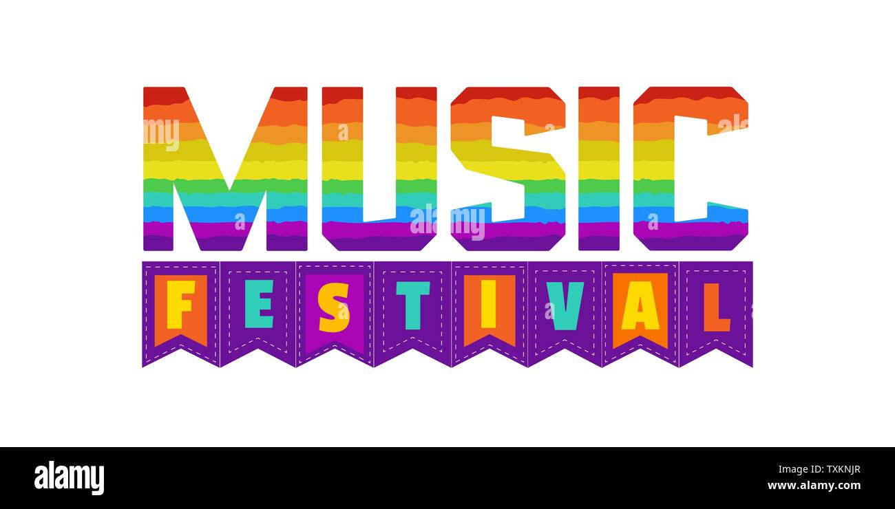 Music Festival hand drawn letters flat vector signboard - Stock Image