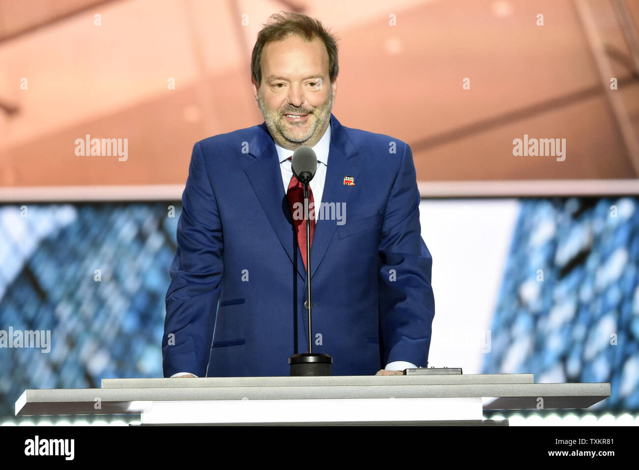 Andy Wist, founder of the Standard Waterproofing Company, speaking on day two of the Republican National Convention at Quicken Loans Arena in Cleveland, Ohio on July 19, 2016. Donald Trump will formally accept the Republican Party's nomination for President on Thursday night July 21st. Photo by Pete Marovich/UPI - Stock Image