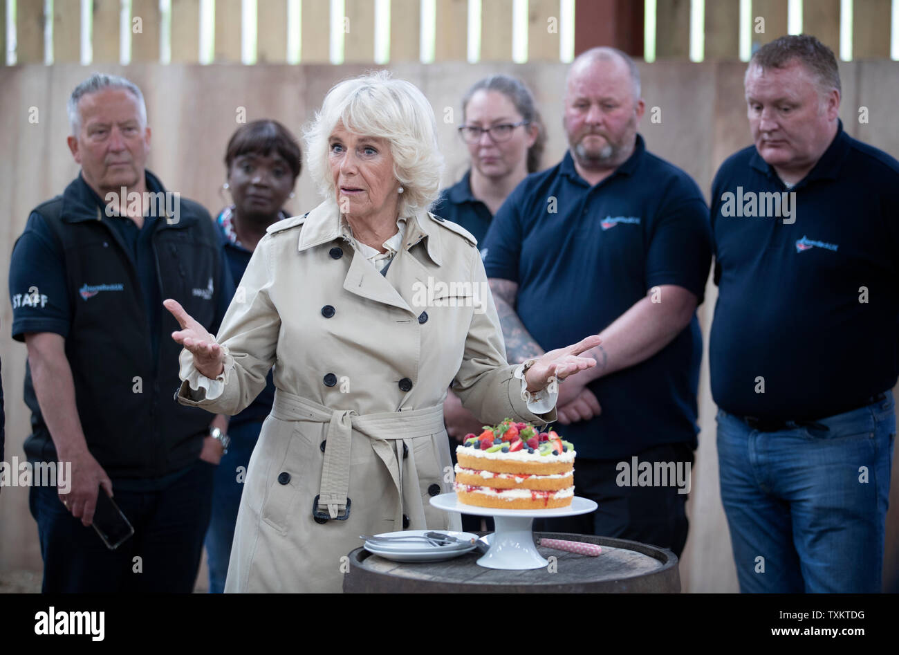 The Duchess of Cornwall, who is known as the Duchess of Rothesay when in Scotland, makes a speech after cutting a special commemorative cake during a visit to HorseBack UK, in South Ferrar, Aboyne. The charity which supports veterans and children is celebrating its 10th birthday. - Stock Image