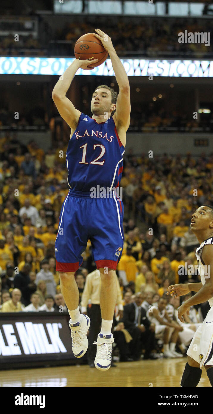 Kansas Jayhawks Brady Moringstar takes a clear jumpshot in the second half against the Missouri Tigers at the Mizzou Arena in Columbia, Missouri on March 5, 2011. Kansas defeated Missouri 70-66.    UPI/Bill Greenblatt - Stock Image
