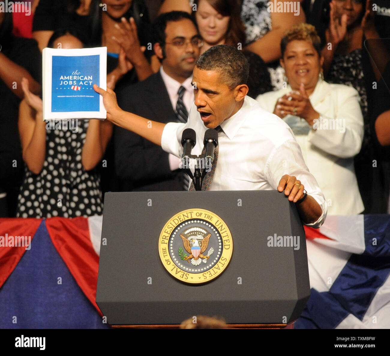 U. S. President Barack Obama talks about his American Jobs Act during a visit to Eastfield College in Mesquite, Texas.  The President also attended two Democratic fund raising events while in Dallas.   UPI/Ian Halperin Stock Photo