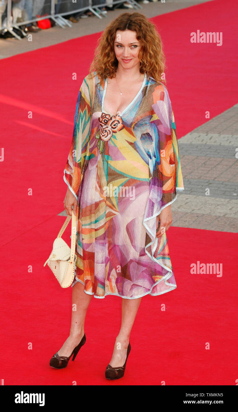 """French actress Marine Delterme arrives on the red carpet before a screening of the film """"The Bourne Ultimatum"""" at the 33rd American Film Festival of Deauville in Deauville, France on September 1, 2007.  (UPI Photo/David Silpa) Stock Photo"""