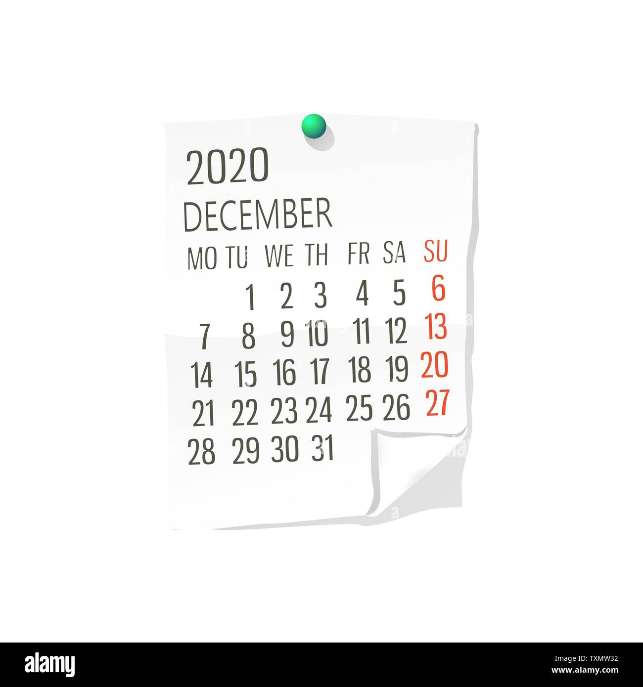 2020 December Calendar Background Vector calendar for December,2020 on white paper with holding pin
