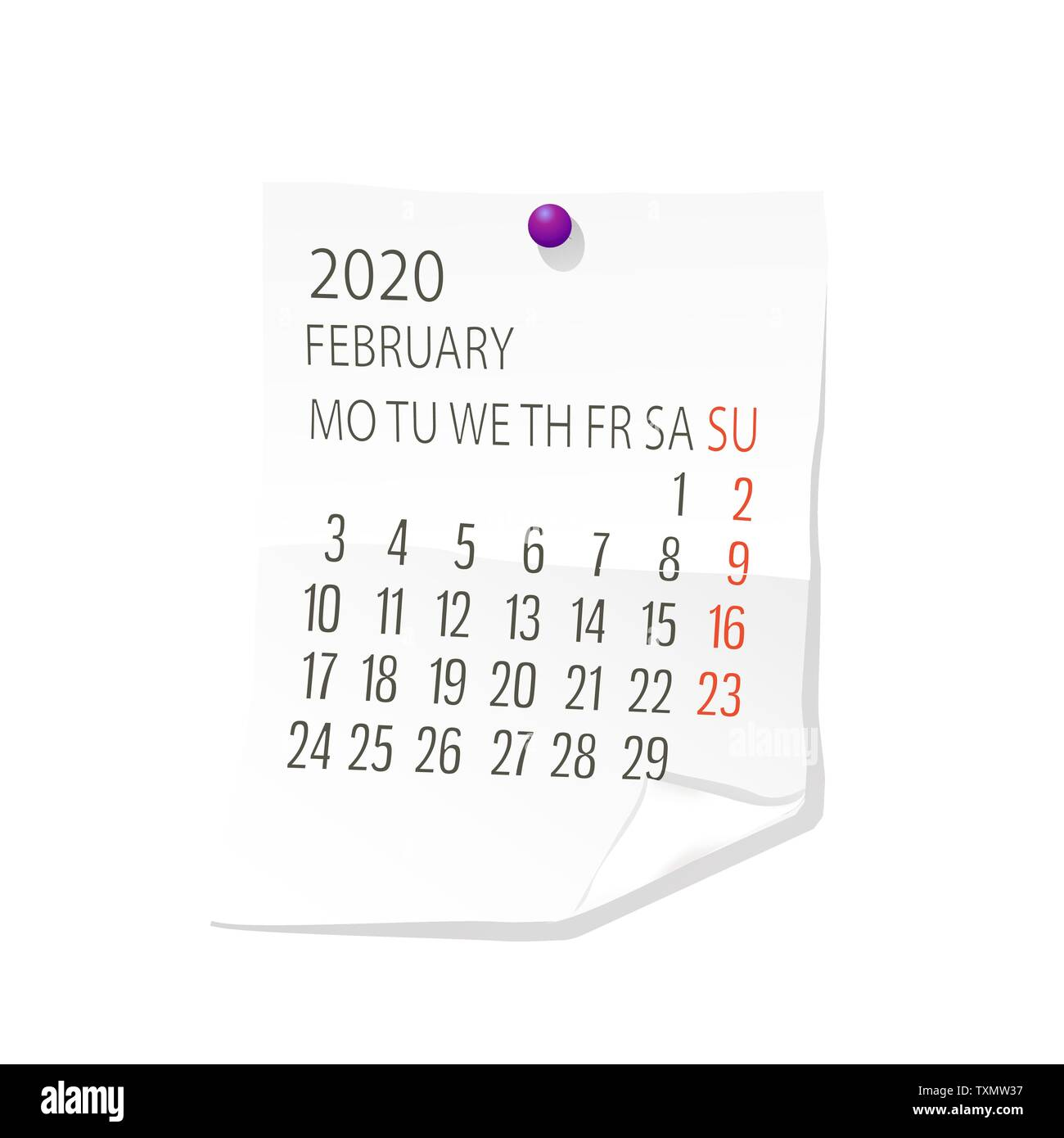 February Calendar Background 2020 Vector calendar for February 2020 on white paper with holding pin