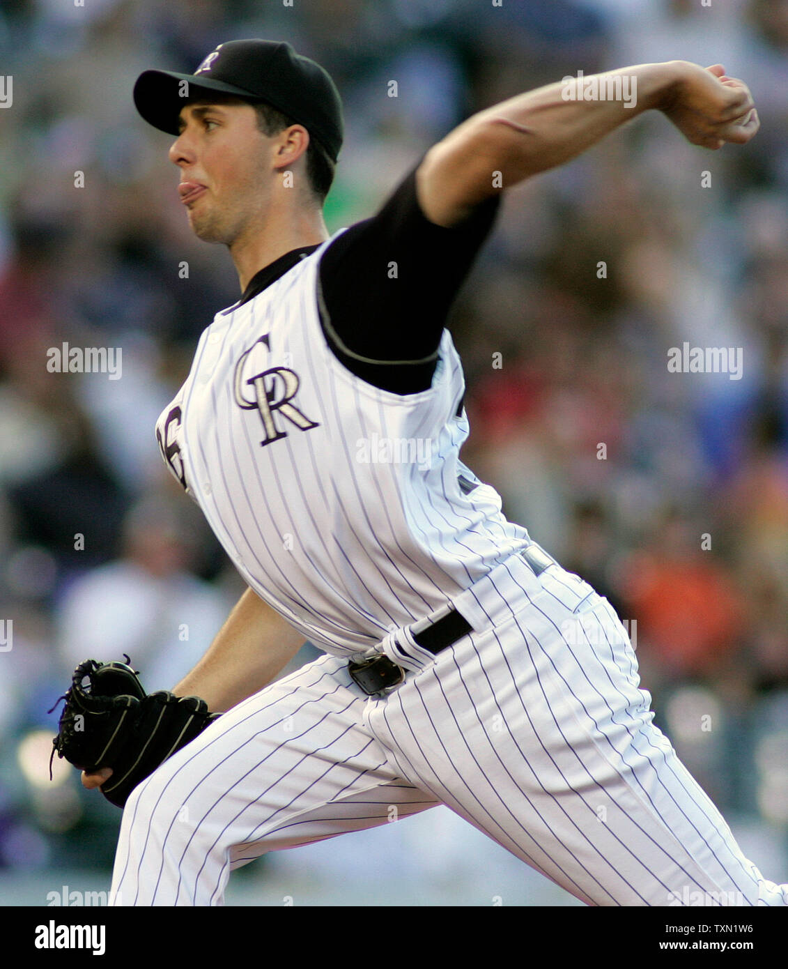 Colorado Rockies starting pitcher Jeff Francis earned the win as the Rockies beat the San Francisco Giants 6-2 at Coors Field in Denver on May 12, 2007.   (UPI Photo/Gary C. Caskey) - Stock Image