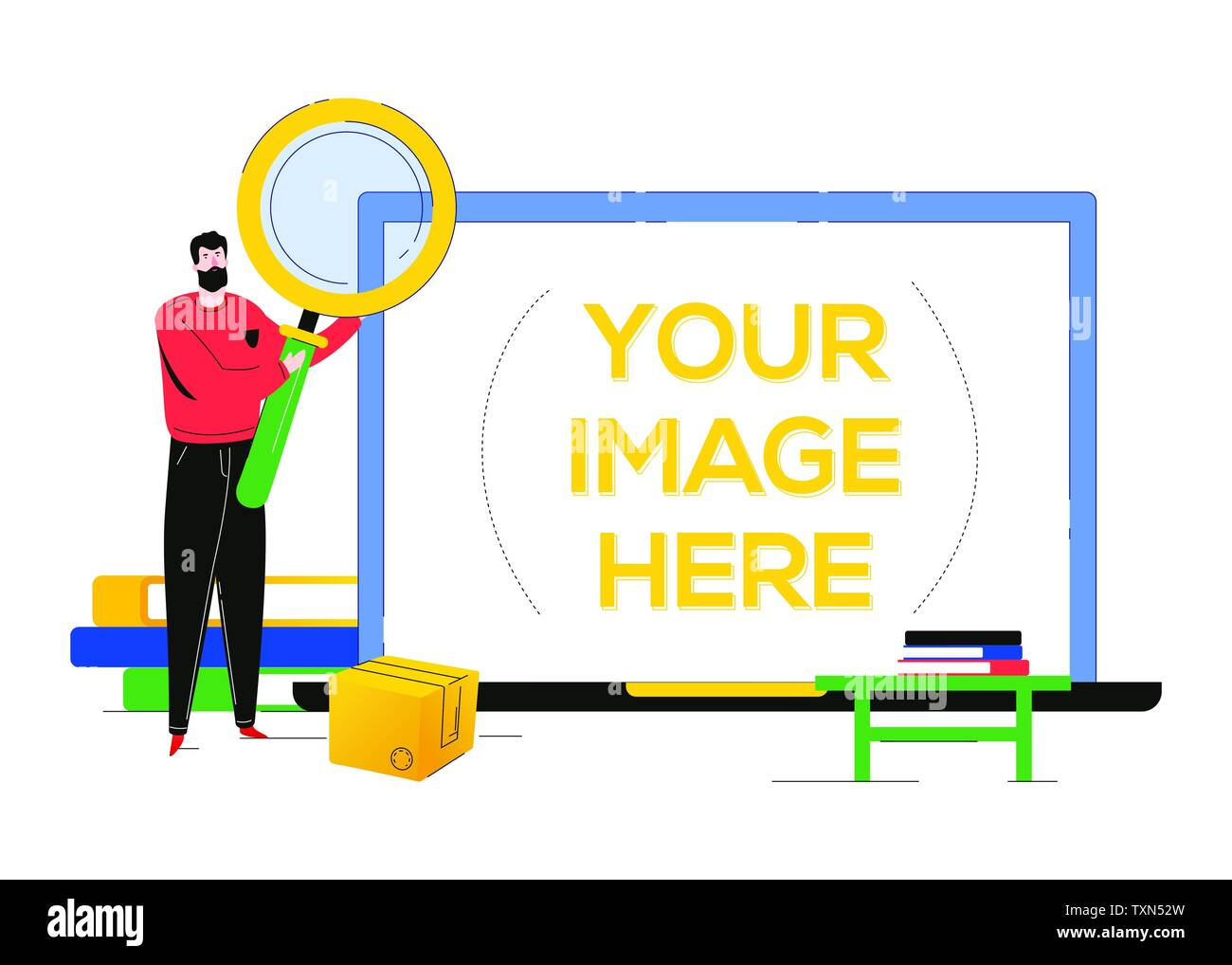 Search concept - flat design style colorful illustration - Stock Image