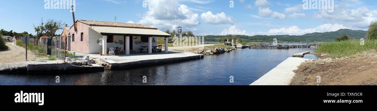 Building on the Korrision lake in Korfu island, Greece - Stock Image