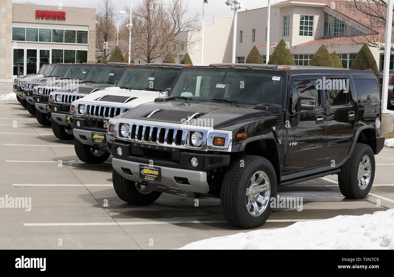 A line of brand new Hummers await sale in Denver on March 9 ... | brand new hummer for sale