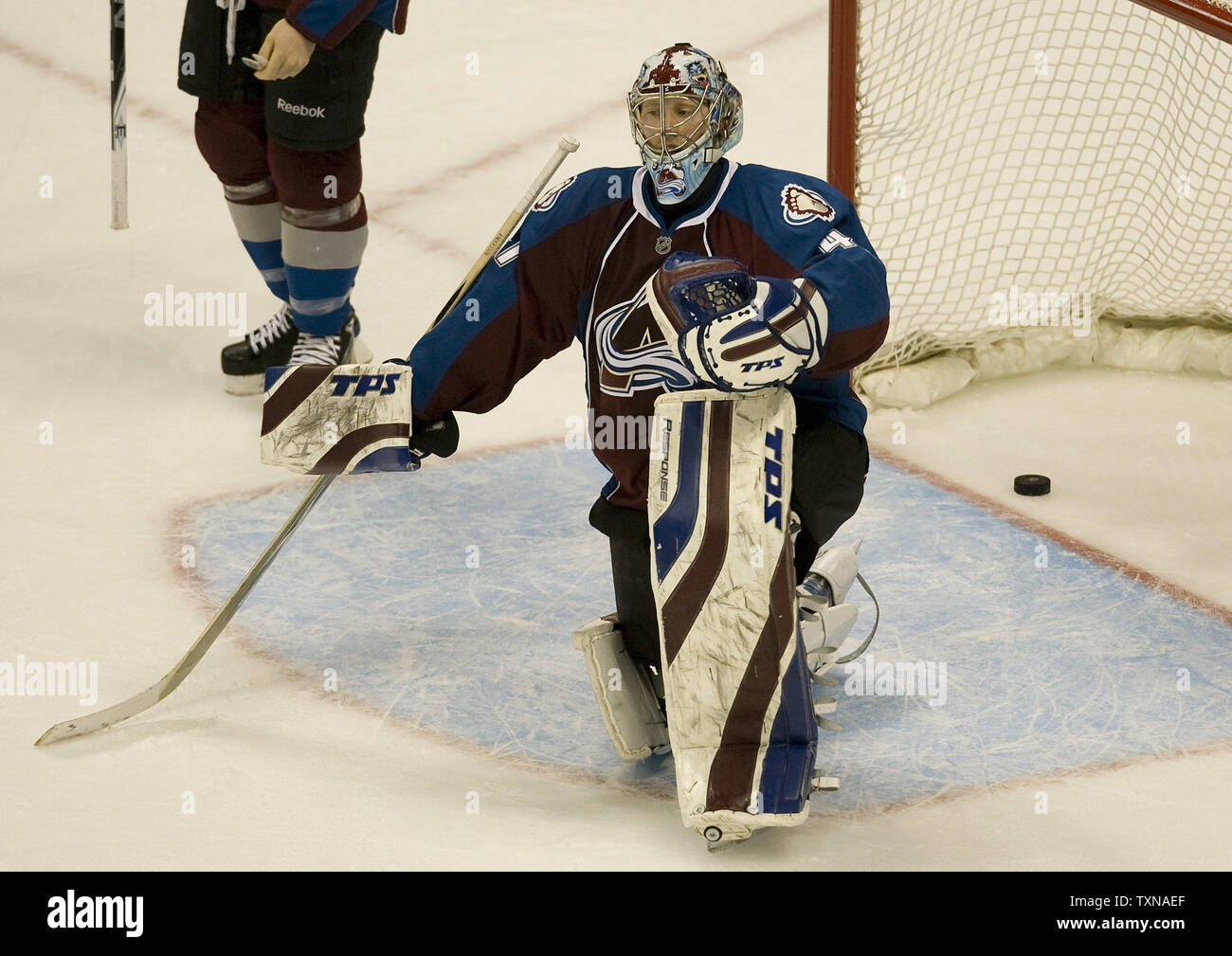 Colorado Avalanche goalie Craig Anderson reacts after allowing the game-winning goal by the Vancouver Canucks during the third period at the Pepsi Center on March 9, 2010 in Denver.  Vancouver widens their Northwest divison lead beating Colorado 6-4 in a come from behind victory.        UPI/Gary C. Caskey - Stock Image