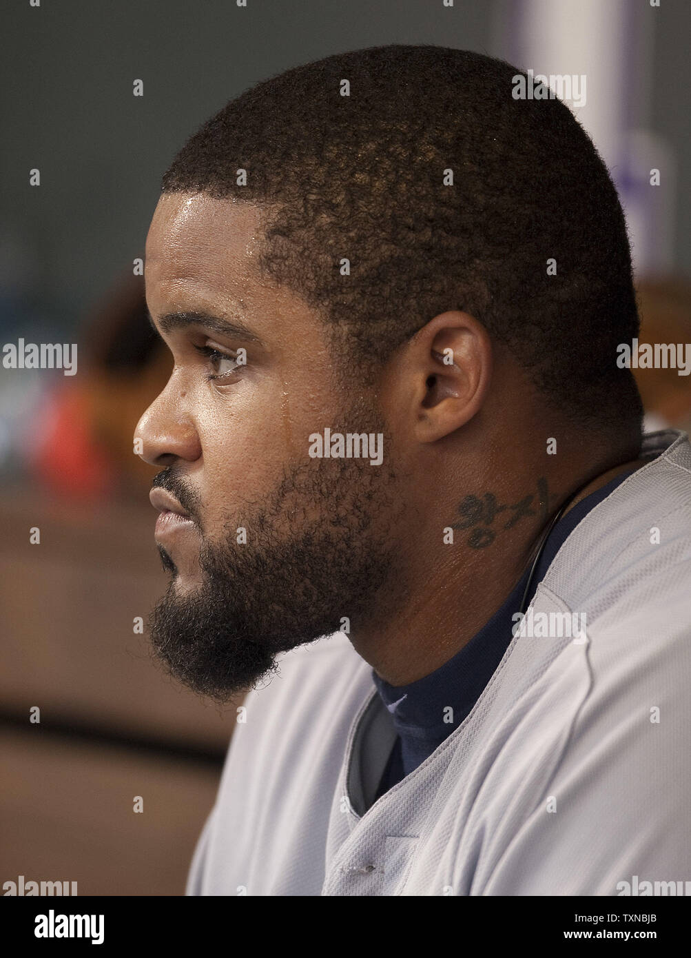 Milwaukee Brewers first baseman Prince Fielder waits for his first turn at bat against the Colorado Rockies at Coors Field on June 18, 2010 in Denver.                 UPI/Gary C. Caskey - Stock Image