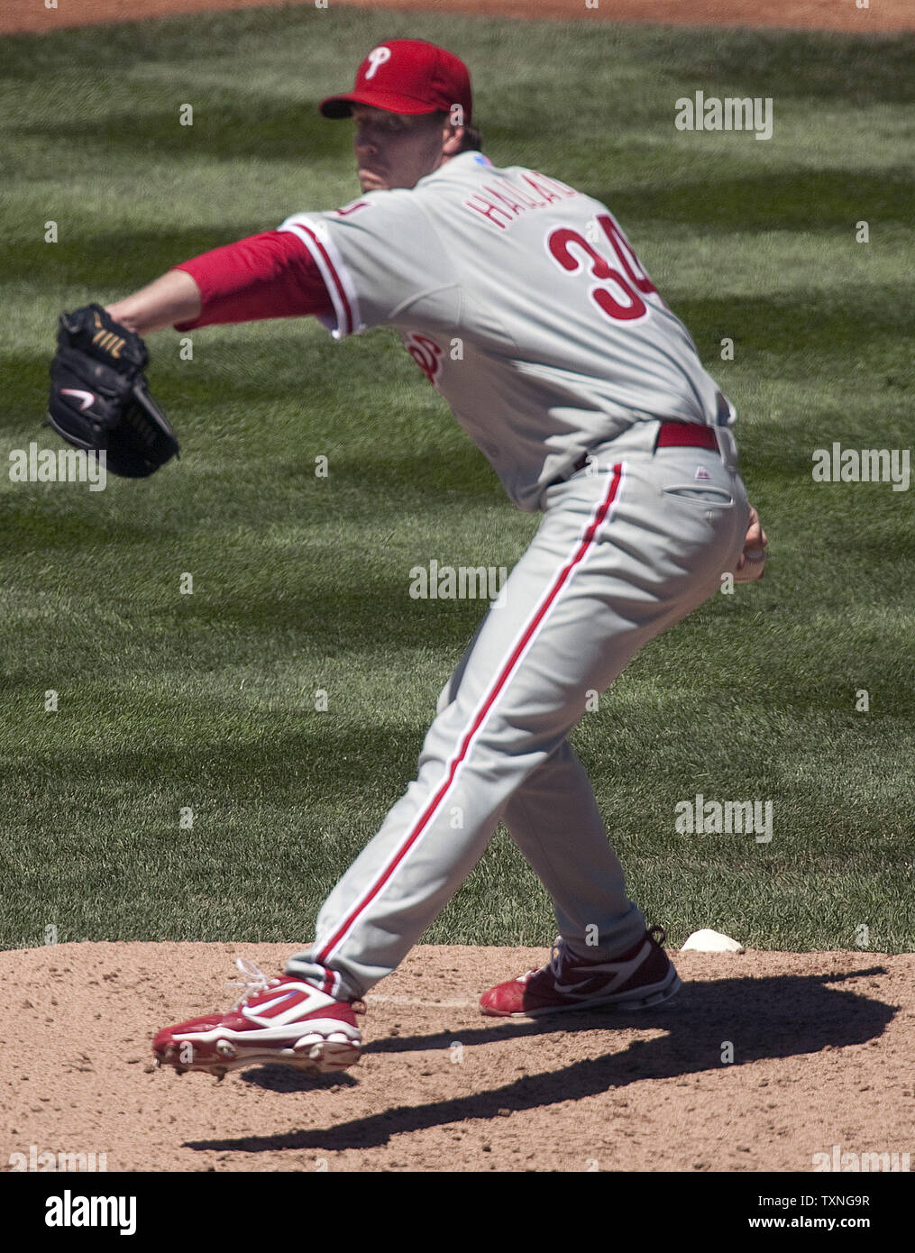 Philadelphia Phillies pitcher Roy Halladay (14-4) earned his 14th win of the season beating the Colorado Rockies 8-6 at Coors Field in Denver on August 3, 2011.    UPI/Gary C. Caskey - Stock Image
