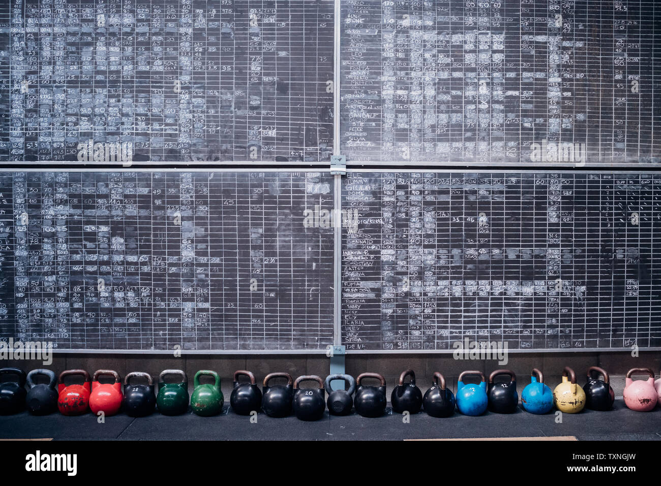 Scoreboards and kettlebells in gym - Stock Image