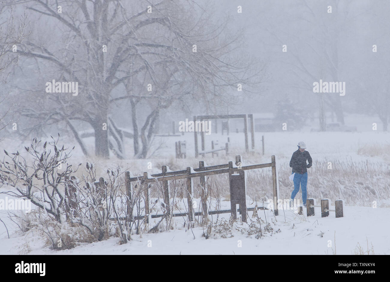 A jogger exercises at a lake park during a winter storm in Denver on March 9, 2013.  Weather reports indicated 6-12 inches of snow shall fall in the area before the quick moving storm moves out into the eastern plains.     UPI/Gary C. Caskey - Stock Image