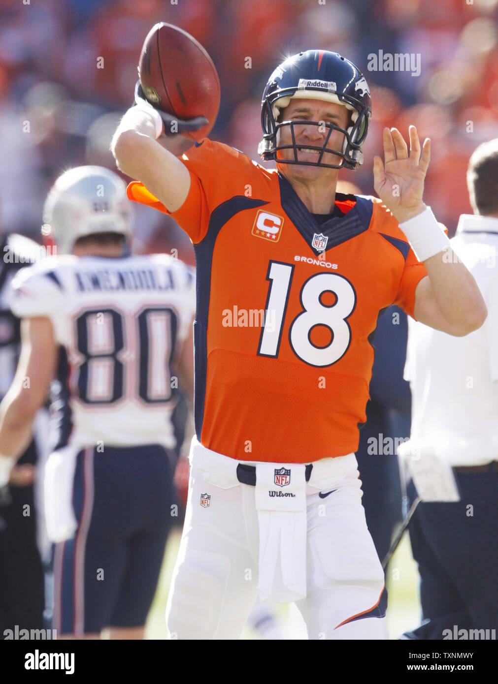 Denver Broncos Quarterback Peyton Manning Warms Up Before
