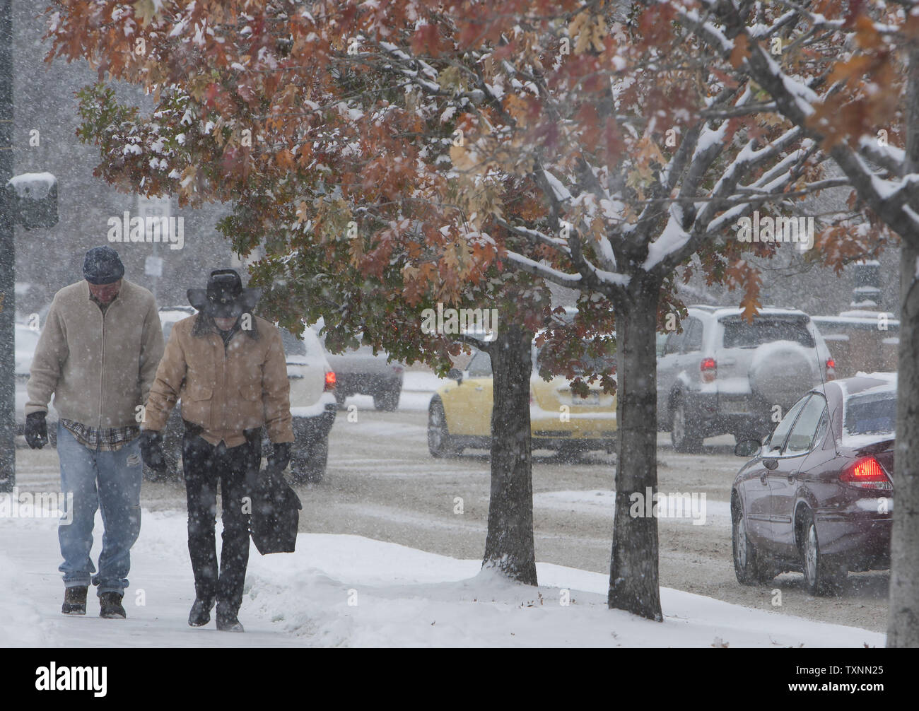 Fall colors still dominate some tress in the downtown area with workers trudging to work during a winter weather advisory in Denver on November 12, 2014.  Denver has single digit temperatures with wind chills between five-to 20 degrees below zero.    UPI/Gary C. Caskey - Stock Image