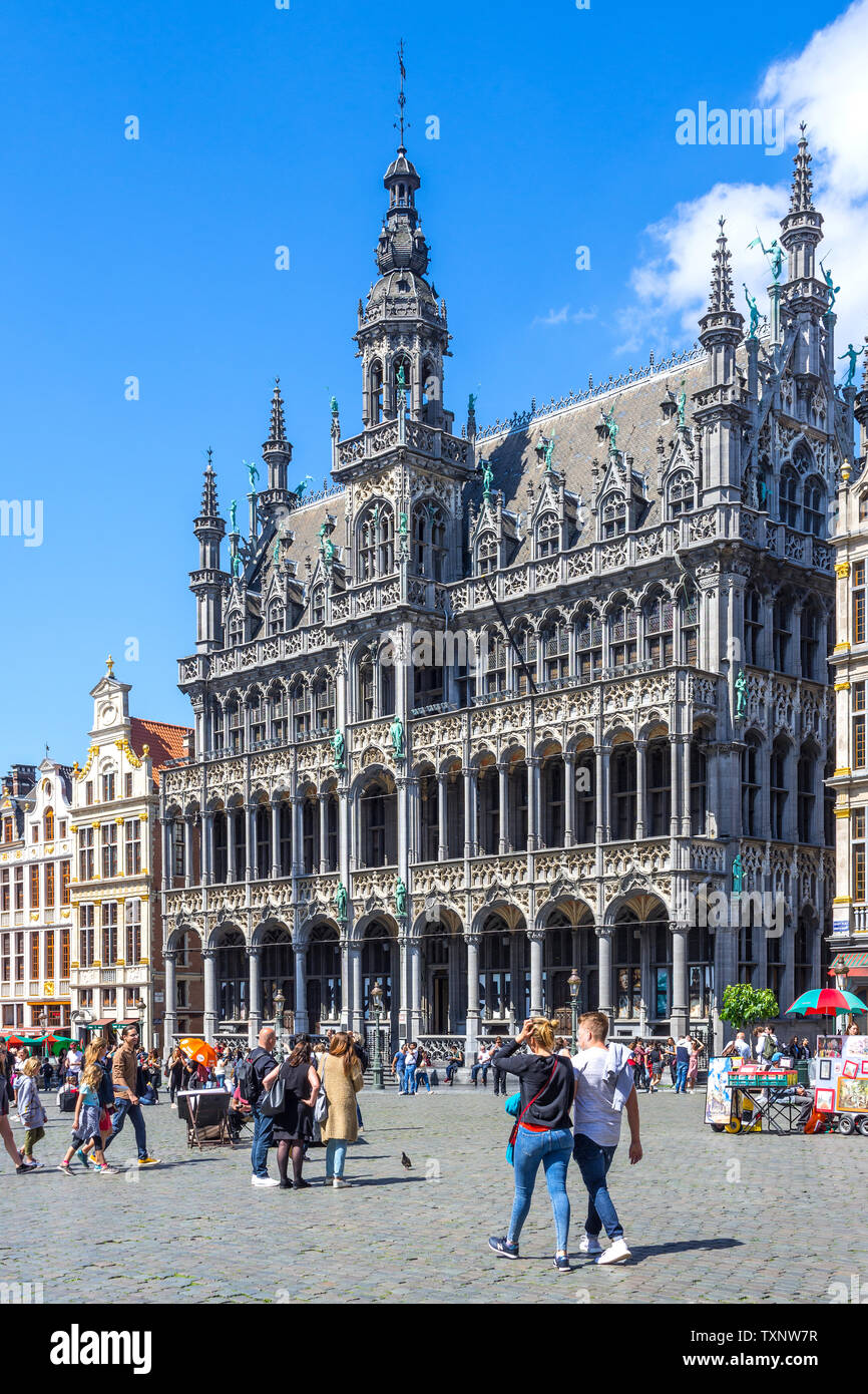 15th century Town Hall (Mairie), Grand Place, Brussels, Belgium. - Stock Image