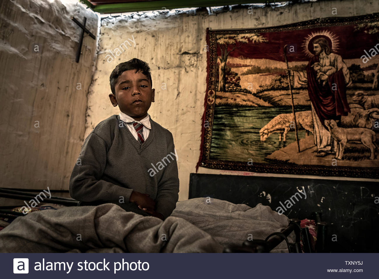 Orphans in an Christian orphanage with school in the largest Christian quarter Youhanabad, Lahore, Punjab, Pakistan. Stock Photo