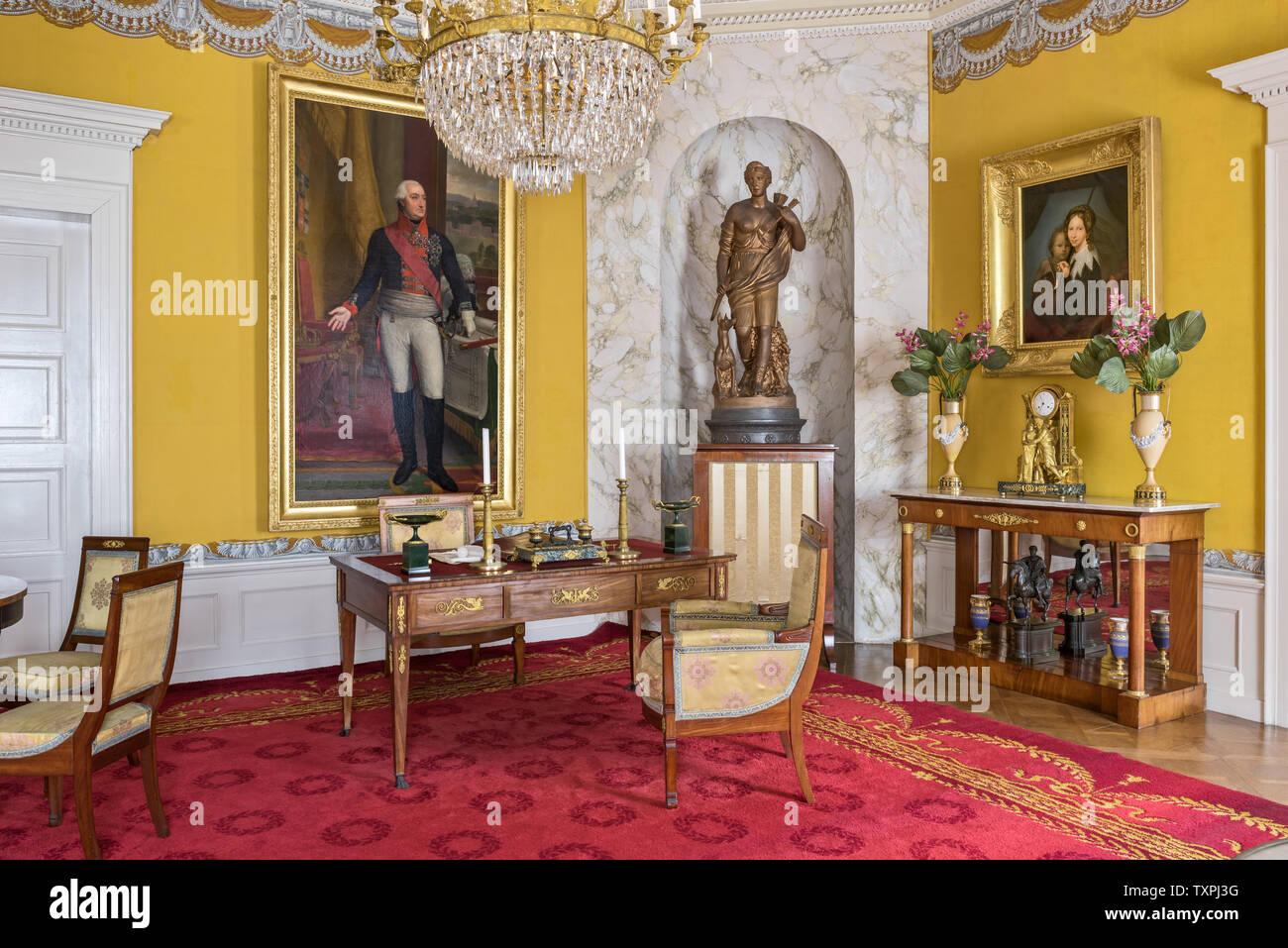 Red and yellow office in Schloss Fasanerie in Hessen; Germany - Stock Image