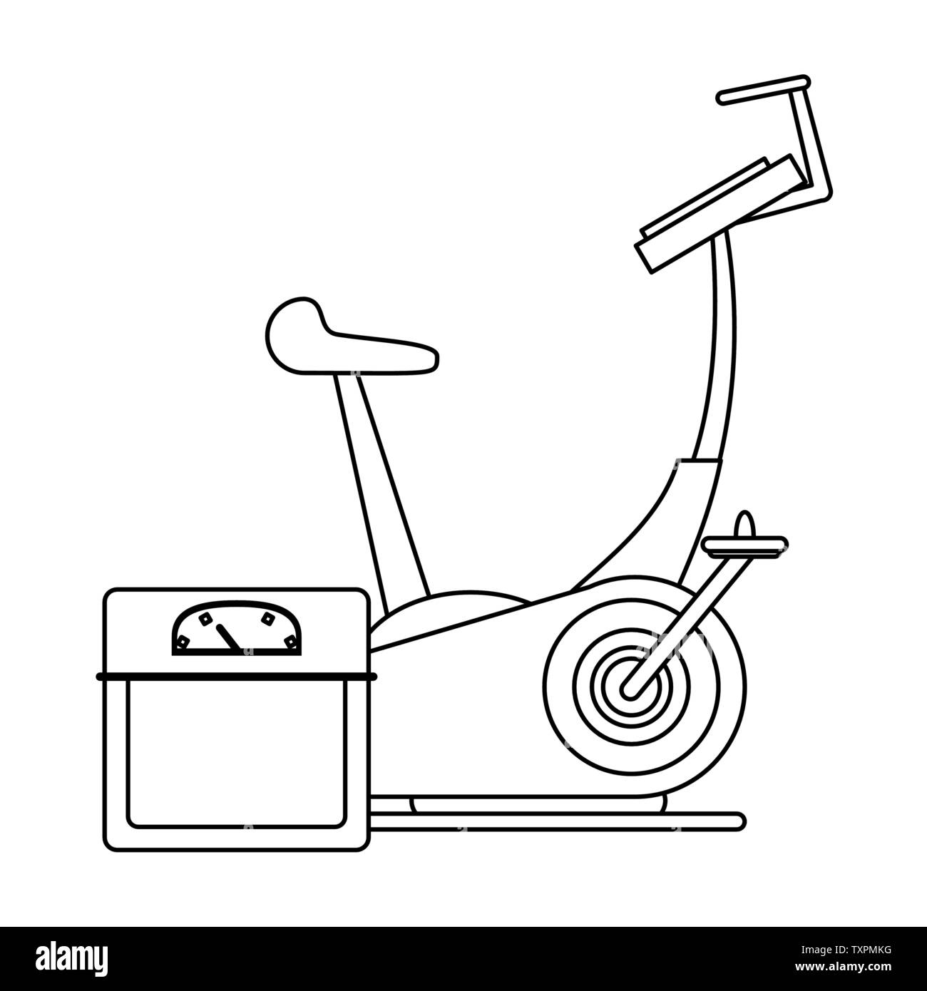 fitness equipment workout health symbols in black and white - Stock Image