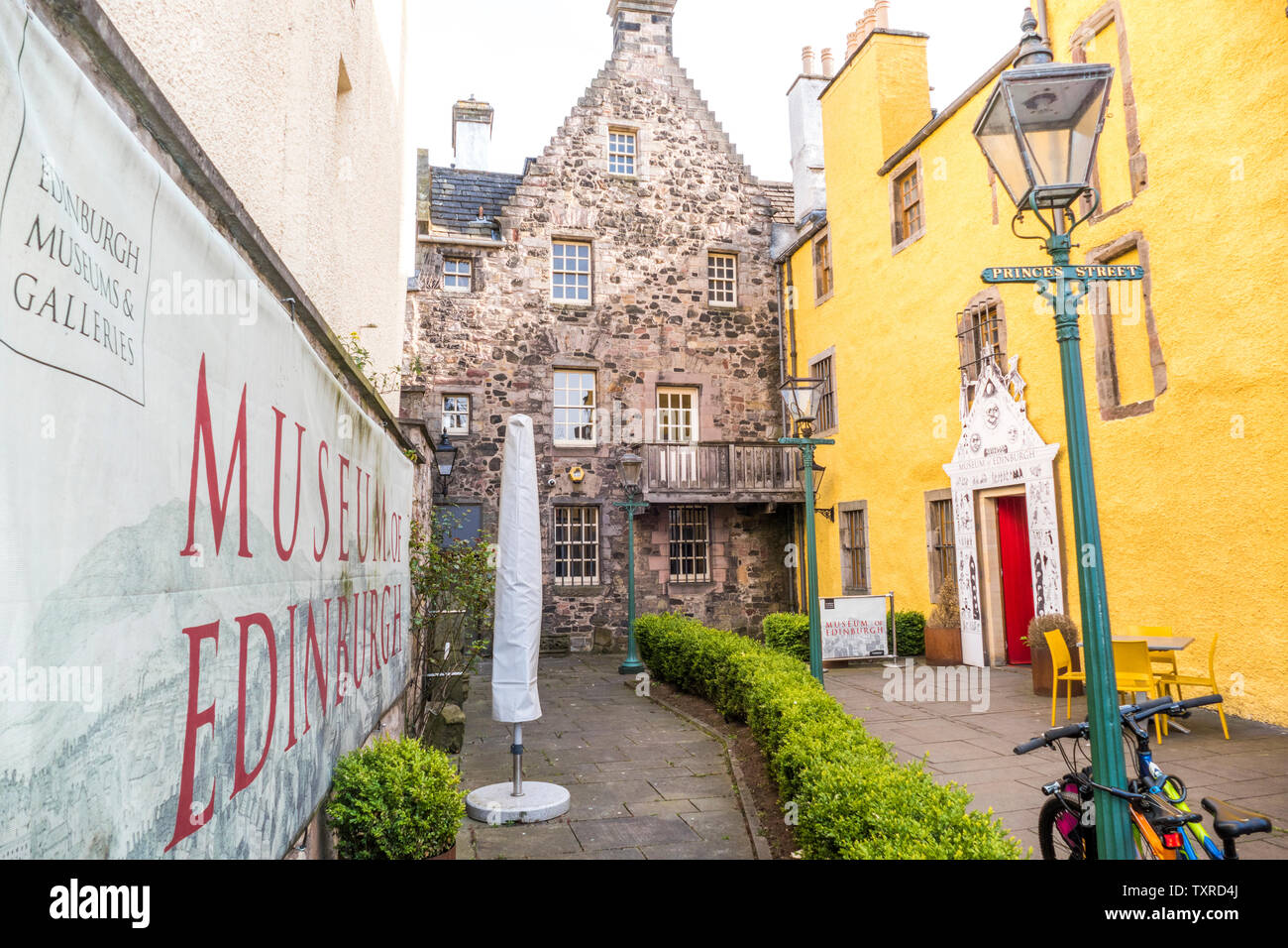Museum of Edinburgh – a centuries old local history museum on The Royal Mile, with a collection about the town's origins, history & legends. Scotland. Stock Photo